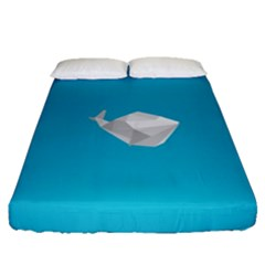 Animals Whale Blue Origami Water Sea Beach Fitted Sheet (queen Size)