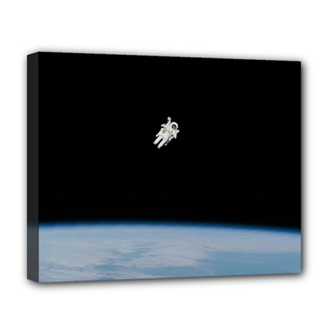 Astronaut Floating Above The Blue Planet Deluxe Canvas 20  X 16   by Nexatart