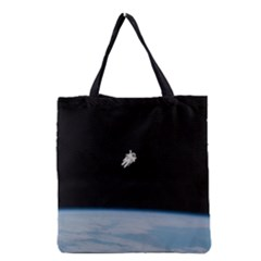 Astronaut Floating Above The Blue Planet Grocery Tote Bag by Nexatart
