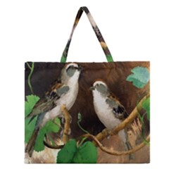 Backdrop Colorful Bird Decoration Zipper Large Tote Bag by Nexatart