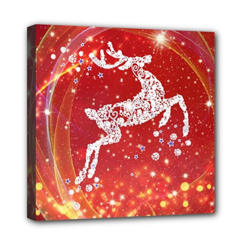Background Reindeer Christmas Mini Canvas 8  x 8  by Nexatart