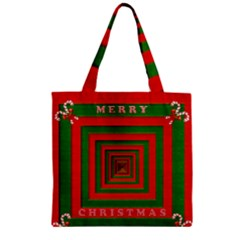 Fabric 3d Merry Christmas Zipper Grocery Tote Bag by Nexatart