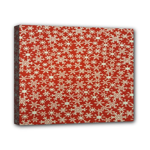 Holiday Snow Snowflakes Red Canvas 10  X 8  by Nexatart