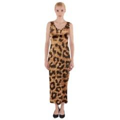 Leopard Print Animal Print Backdrop Fitted Maxi Dress