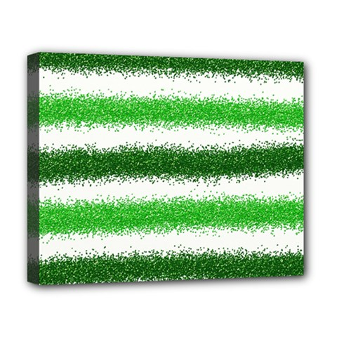 Metallic Green Glitter Stripes Deluxe Canvas 20  x 16   by Nexatart