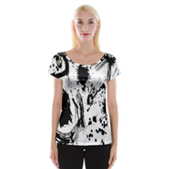 Pattern Color Painting Dab Black Women s Cap Sleeve Top by Nexatart