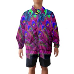 Peacock Abstract Digital Art Wind Breaker (kids) by Nexatart