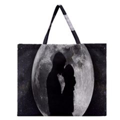 Silhouette Of Lovers Zipper Large Tote Bag by Nexatart