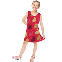 Hare Easter Pattern Animals Kids  Tunic Dress by Amaryn4rt