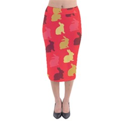 Hare Easter Pattern Animals Velvet Midi Pencil Skirt by Amaryn4rt