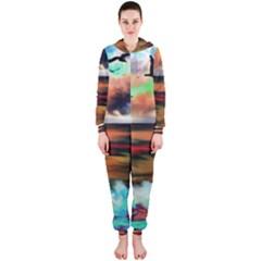 Ocean Waves Birds Colorful Sea Hooded Jumpsuit (ladies)