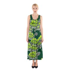 Seamless Tile Background Abstract Turtle Turtles Sleeveless Maxi Dress