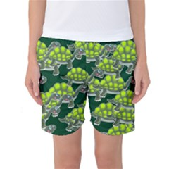 Seamless Tile Background Abstract Turtle Turtles Women s Basketball Shorts by Amaryn4rt