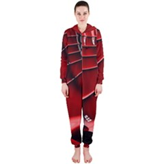 Red Black Fractal Mathematics Abstract Hooded Jumpsuit (ladies)
