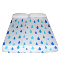 Water Rain Blue Fitted Sheet (queen Size)