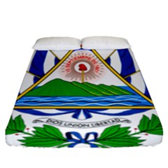 Coat Of Arms Of El Salvador Fitted Sheet (queen Size)