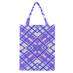 Geometric Plaid Pale Purple Blue Classic Tote Bag