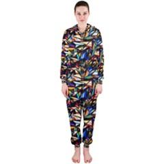 Abstract Pattern Design Artwork Hooded Jumpsuit (ladies)