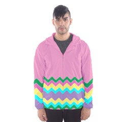 Easter Chevron Pattern Stripes Hooded Wind Breaker (men) by Amaryn4rt