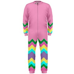 Easter Chevron Pattern Stripes OnePiece Jumpsuit (Men)  by Amaryn4rt