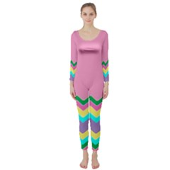 Easter Chevron Pattern Stripes Long Sleeve Catsuit by Amaryn4rt