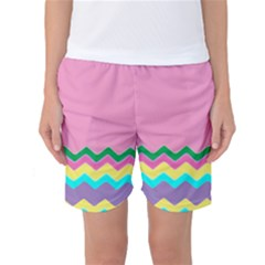 Easter Chevron Pattern Stripes Women s Basketball Shorts by Amaryn4rt