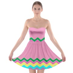 Easter Chevron Pattern Stripes Strapless Bra Top Dress by Amaryn4rt