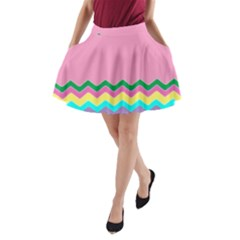 Easter Chevron Pattern Stripes A Line Pocket Skirt by Amaryn4rt