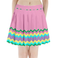 Easter Chevron Pattern Stripes Pleated Mini Skirt by Amaryn4rt