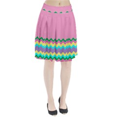 Easter Chevron Pattern Stripes Pleated Skirt by Amaryn4rt