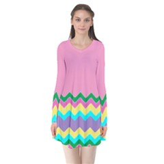 Easter Chevron Pattern Stripes Flare Dress by Amaryn4rt