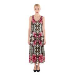 Flowers Fabric Sleeveless Maxi Dress