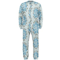 Flower Floral Rose Bird Animals Blue Grey Study Onepiece Jumpsuit (men)  by Alisyart