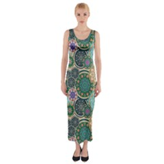 Flower Sunflower Floral Circle Star Color Purple Blue Fitted Maxi Dress
