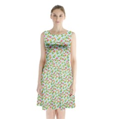 Flowers Roses Floral Flowery Sleeveless Chiffon Waist Tie Dress by Amaryn4rt