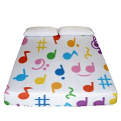Notes Tone Music Purple Orange Yellow Pink Blue Fitted Sheet (queen Size)