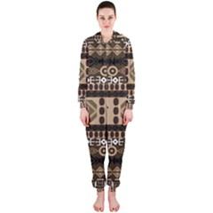 African Vector Patterns  Hooded Jumpsuit (ladies)
