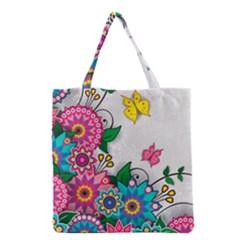 Flowers Pattern Vector Art Grocery Tote Bag