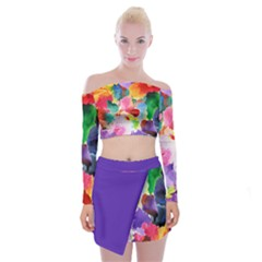 Flower Off Shoulder Top With Skirt Set by Wanni