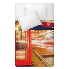 Telephone Box London Night Duvet Cover Double Side (single Size) by Amaryn4rt
