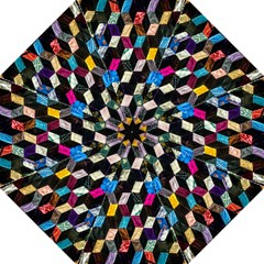 Abstract Multicolor Cubes 3d Quilt Fabric Hook Handle Umbrellas (large) by Onesevenart