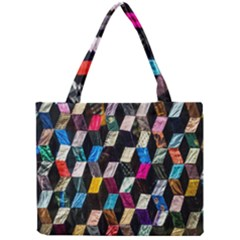 Abstract Multicolor Cubes 3d Quilt Fabric Mini Tote Bag by Onesevenart