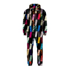 Abstract Multicolor Cubes 3d Quilt Fabric Hooded Jumpsuit (kids) by Onesevenart