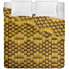 Golden Pattern Fabric Duvet Cover Double Side (king Size) by Onesevenart