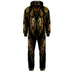 Fractal Abstract Patterns Gold Hooded Jumpsuit (Men)