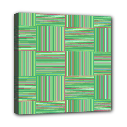 Geometric Pinstripes Shapes Hues Mini Canvas 8  x 8  by Simbadda