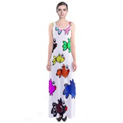 Fishes Marine Life Swimming Water Sleeveless Maxi Dress