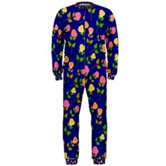 Flowers Roses Floral Flowery Blue Background Onepiece Jumpsuit (men)  by Simbadda
