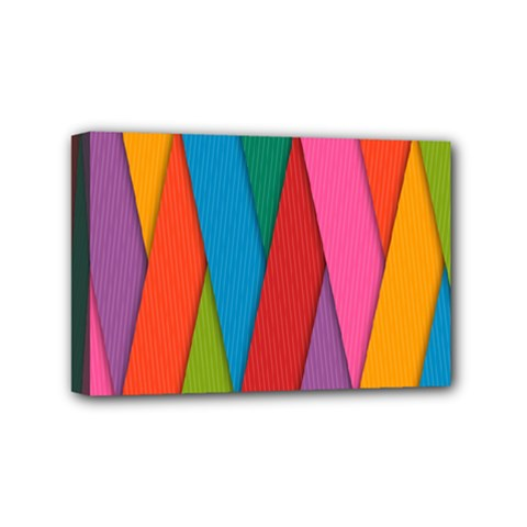 Colorful Lines Pattern Mini Canvas 6  X 4  by Simbadda