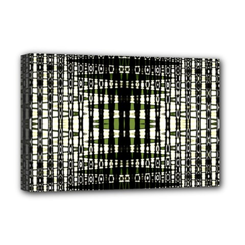Interwoven Grid Pattern In Green Deluxe Canvas 18  X 12   by Simbadda